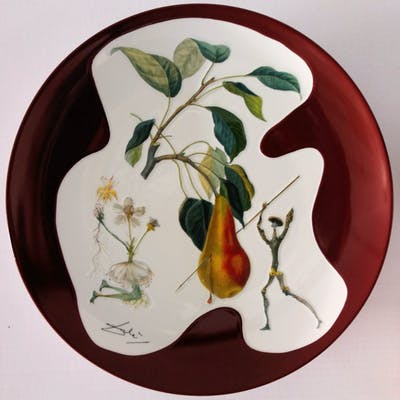 DALI Salvador - Don Quichotte Pear, signed original porcelain plate