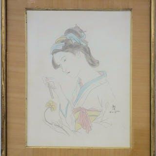 Léonard Tsuguharu FOUJITA: Japanese woman with carnation - Original