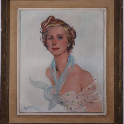 Jean-Gabriel Domergue - The Parisian, signed oil on canvas