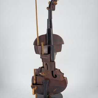ARMAN - Cubist violin n ° 2 - original bronze sculpture