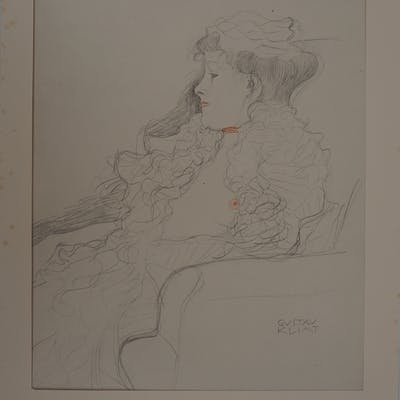 Gustav KLIMT - Lady with ruff, signed lithograph, 1929