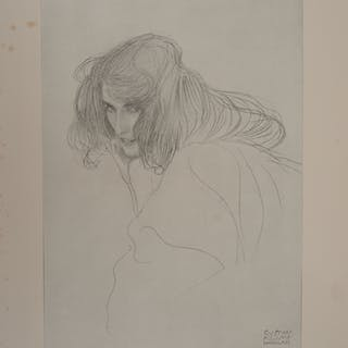 Gustav Klimt - Study of a Woman, signed lithograph, 1929