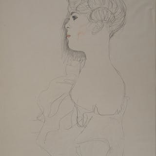 Gustav Klimt - Woman with Bare Shoulders, signed lithograph, 1929