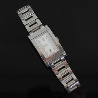 BULGARI RETTANGOLO AUTOMATIC STEEL WRIST WATCH.