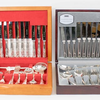 FOUR SILVER PLATED CANTEENS OF CUTLERY; and one stainless steel canteen