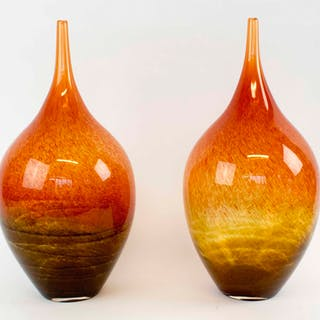 A PAIR OF MURANO ORANGE AND BROWN GLASS VASES