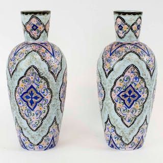 A PAIR ENAMELLED OPALINE GLASS OVOID VASES