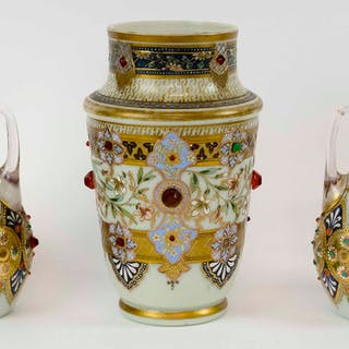 THREE ANTIQUE JEWELLED AND ENAMELLED AND GILT OPALINE VASES