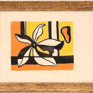FERNAND LEGER 'Fleur sur Fond Orange et Jaune'