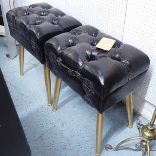 STOOLS, a pair, vintage luggage style, 55cm H. (2)