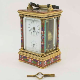 A CLOISONNE ENAMEL REPEATER CARRIAGE CLOCK