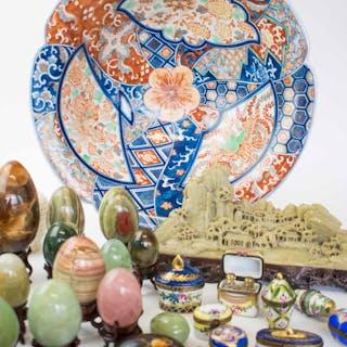 AN ANTIQUE CHINESE SOAPSTONE MOUNTAIN; Imari style bowl; ten Limoges
