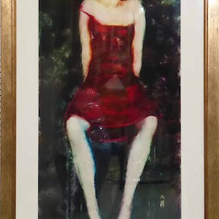 INGE CLAYTON 'Girl in Red Dress on a Stool'