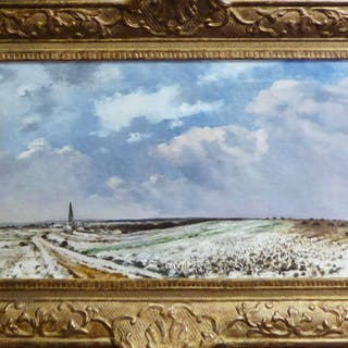 19th CENTURY FRENCH SCHOOL 'Snowclad Landscape with Village Seen from afar'