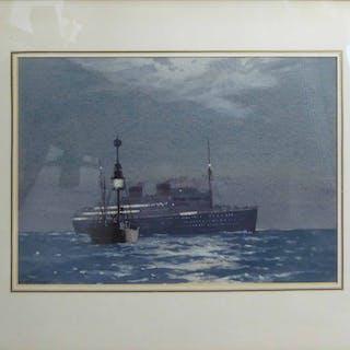 NORMAN WILKINSON CBE PRI ROI RMSA (1878-1971) 'M.V. Britannia'
