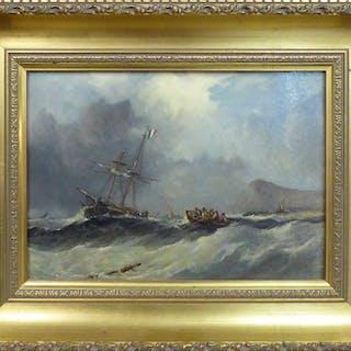 19th CENTURY ENGLISH SCHOOL 'Shipping in a Coastal Squall'