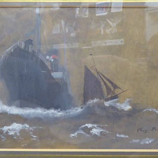CHARLES PEARS RI ROI RSMA (1873-1958) 'Liner in Choppy Waters'