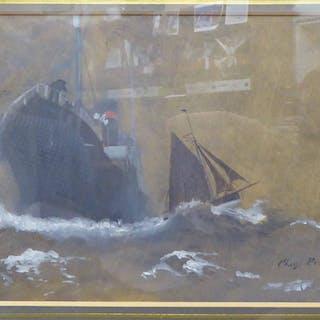 CHARLES PEARS RI ROI RSMA (1873-1958) 'Liner in Choppy Waters'