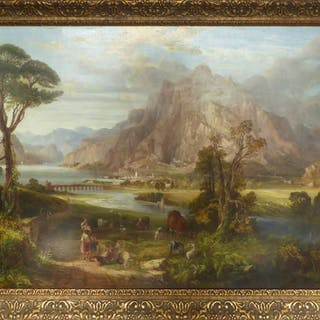 18th CENTURY CONTINENTAL SCHOOL 'Mountainous Landscape with Cattle