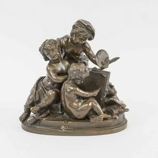 ANTIQUE BRONZE GROUP OF CHILDREN PAINTING