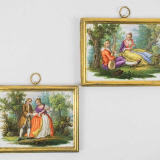 A PAIR OF 18th CENTURY CONTINENTAL PAINTED PORCELAIN PLAQUES