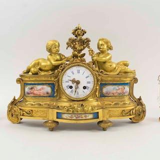 A 19tH CENTURY ORMOLU & SEVRES STYLE PORCELAIN CLOCK