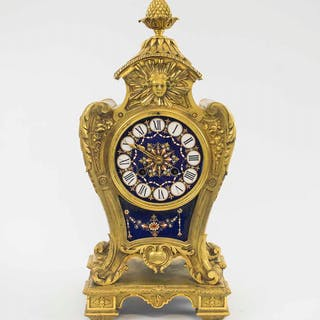 A FINE ORMOLU & JEWELLED SÈVRES MANTEL CLOCK