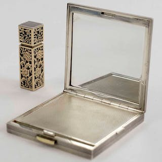 AN ART DECO FRENCH SILVER & GOLD COMPACT