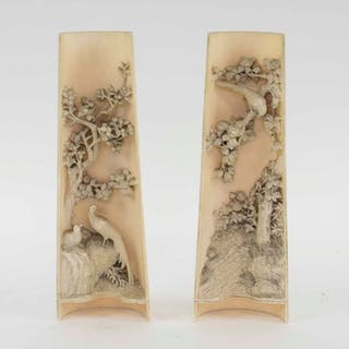 A SUPERB PAIR OF ANTIQUE CHINESE IVORY WRIST WRESTS