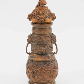 RARE 18TH CENTURY CHINESE CARVED BAMBOO ROOT VASE AND COVER
