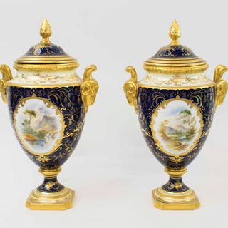 COALPORT VASES AND COVERS