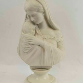 A 19TH CENTURY WHITE MARBLE BUST OF MADONNA AND CHILD