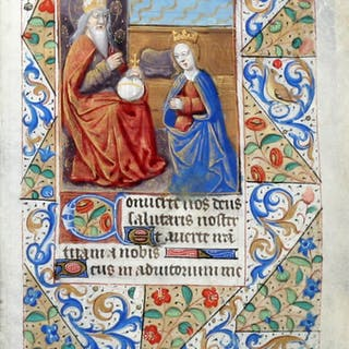 Illuminated Manuscript Leaf: The Coronation of the Virgin - [ILLUMINATED