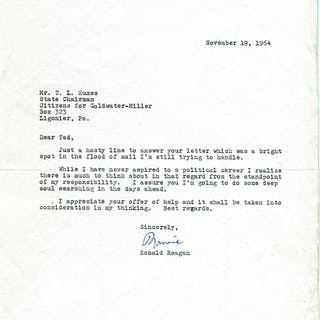 Typed Letter Signed - REAGAN, RONALD.