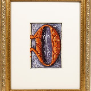 "Illuminated Manuscript: Large Initial ""D"" - [Illuminated Manuscript]."