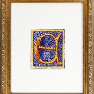 "Illuminated Manuscript: Large Initial ""E"" - [ILLUMINATED MANUSCRIPT]."