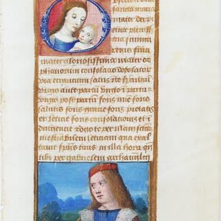 Illuminated Manuscript Leaf with Miniature of Mary - [ILLUMINATED MANUSCRIPT].