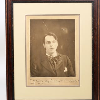 Photograph Signed - YEATS, WILLIAM BUTLER. [BOUGHTON, ALICE].