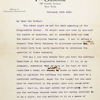 Typed Letter Signed [TLS] - ROOSEVELT, THEODORE.