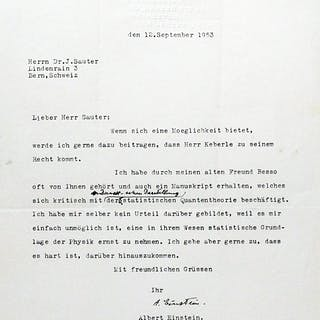 Typed Letter Signed with Autograph Annotation - EINSTEIN, ALBERT.