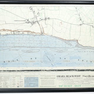 "Top Secret ""Bigot"" Map of Omaha Beach-West (Vierville-sur-Mer) - [D-DAY;"