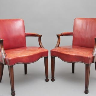Pair of 19th Century mahogany library armchairs