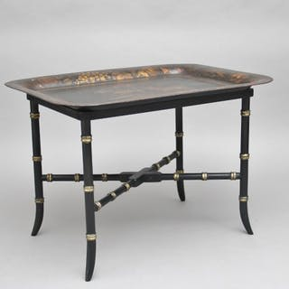 Early 19th Century toleware tray on stand
