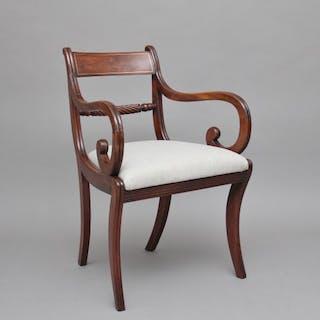 Early 19th Century mahogany rope back armchair