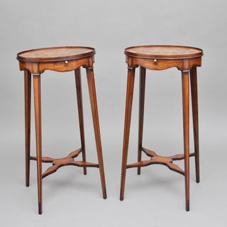 Pair of Sheraton revival mahogany and inlaid urn stands