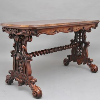 19th Century burr walnut centre table