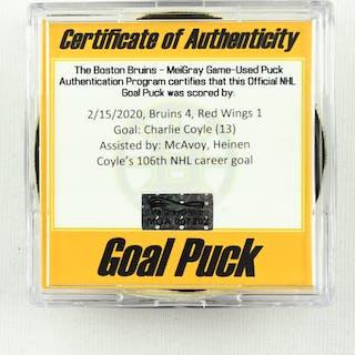 Charlie Coyle - Boston Bruins - Goal Puck - February 15, 2020 vs.