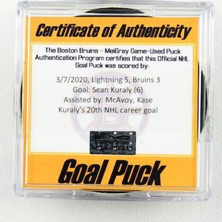 Sean Kuraly - Boston Bruins - Goal Puck - March 7, 2020 vs. Tampa