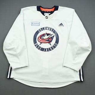 Nick Foligno - 19-20 - Columbus Blue Jackets - White Practice Jersey