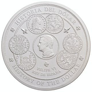 2017 Spain History of the Dollar 1 Kilo Silver Proof €300 Coin GEM